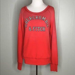 Abercrombie & Fitch Red Sweatshirt Raised Logo L
